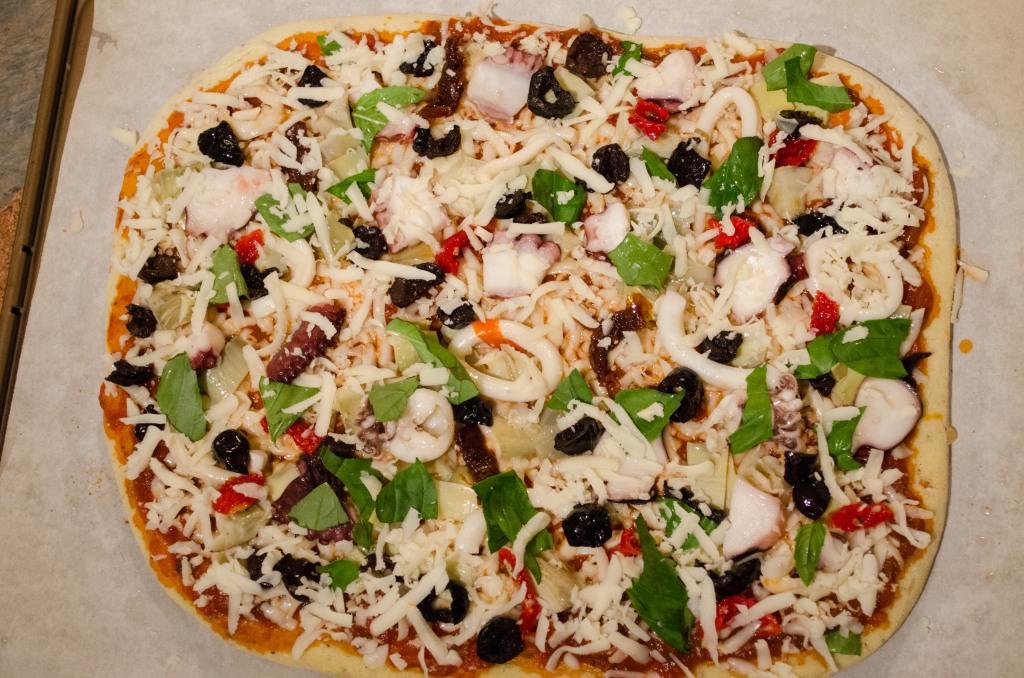 Gluten Free Antipasto Calamari Squid Pizza-8